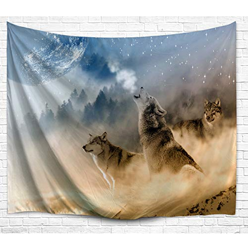DENGYUE Howling Wolf Wall Tapestry, Three Musketeers Wolves in Desert Sandy Land Howling to Moon Wall Hanging Art Decors Tapestry for Bedroom Living Room ()