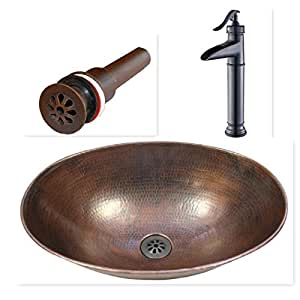 "SimplyCopper 17"" Oval Copper Vessel Bath Sink with Waterfall Faucet and Daisy Drain Inlcuded"