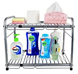 ESYLIFE Under Sink 2 Tier Expandable Kitchen Shelf Organizer with 6 Metal Removable Panels