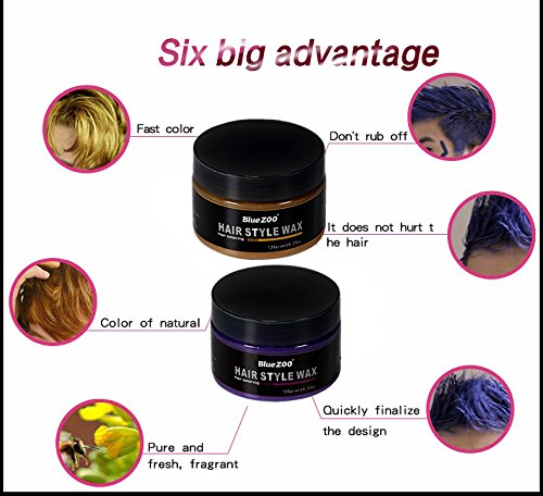 BlueZOO 120g Disposable Temporary Hair Color Pomade Unisex DIY Natural Hairstyle Wax Mud Dye Cream,Easy to Washable by Bluezoo (Image #4)
