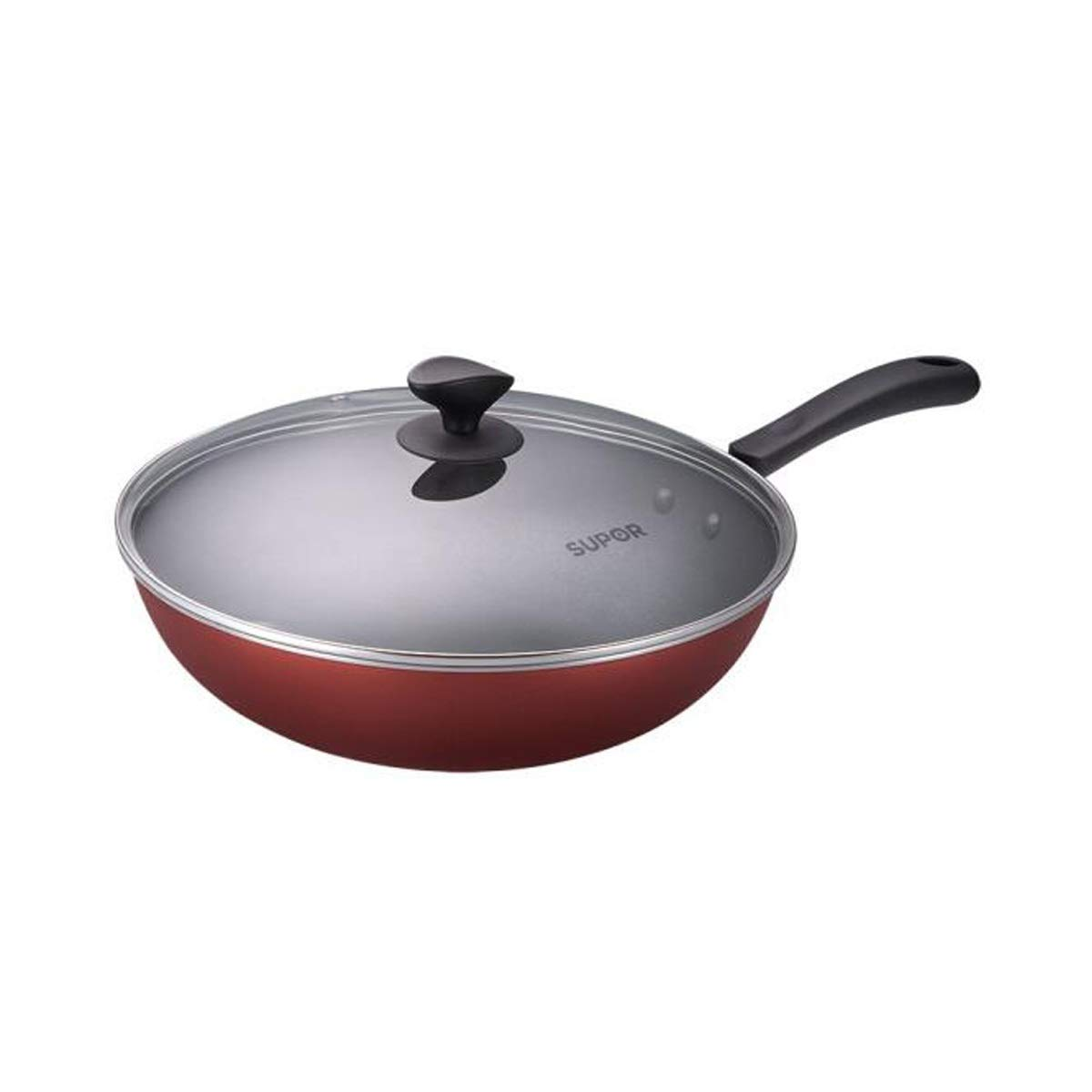 Wok, Colorful Easy To Clean Non-stick Wok 30CM, Red (Color : Red, Size : 30cm)