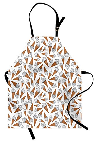 Ambesonne Sweet Apron, Takeaway Vanilla Ice Cream Gelato Background Yummy Desert Scoop Image Print, Unisex Kitchen Bib Apron with Adjustable Neck for Cooking Baking Gardening, Caramel Pearl