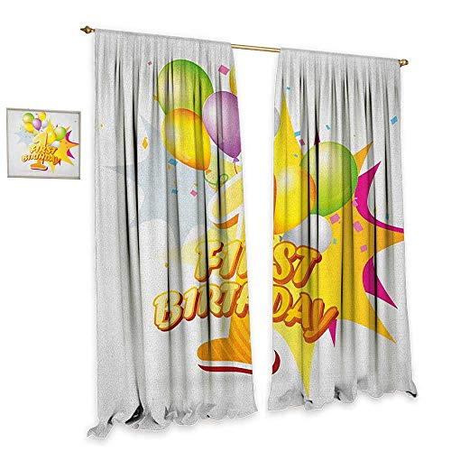 homefeel 1st Birthday Window Curtain Fabric First Celebration Event Excitement for Baby with The Party Balloons Customized Curtains W120 x L96 Hot Pink and -