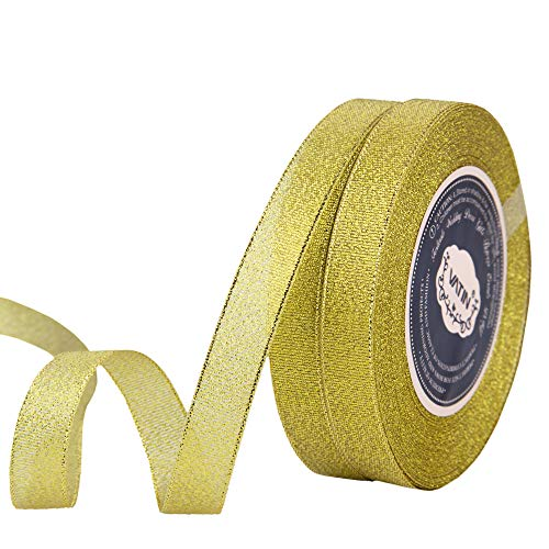 VATIN 2 Rolls Glitter Metallic Gold Ribbon 5/8 inches Wide Sparkly Fabric Gorgeous Ribbon for Gift Crafters Wedding Party Brithday Wrap Hair Bows Floral Projects (50-Yards Spool)