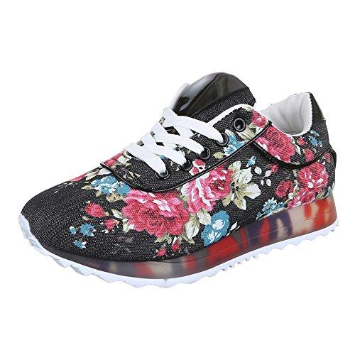 Ital-Design - zapatos de tiempo libre Mujer Multicolor - Schwarz Multi