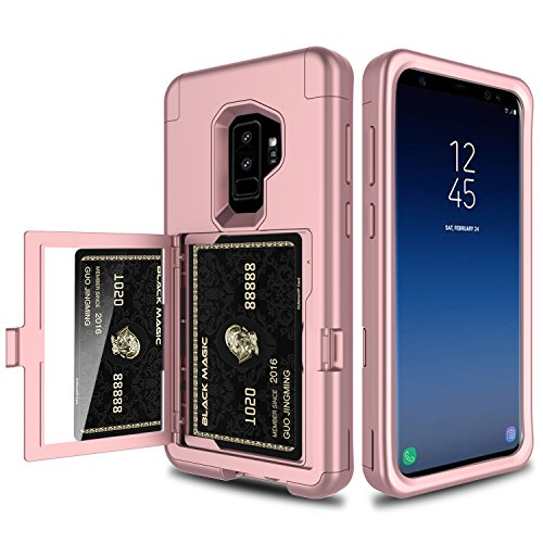 Galaxy S9 Plus Case, Elegant Choise 3 in 1 Wallet Case with Hidden Back Mirror Heavy Duty Full Body Protection Rugged Case Cover with Card Slot Holder and Kickstand for Samsung Galaxy S9+ (Rose Gold)
