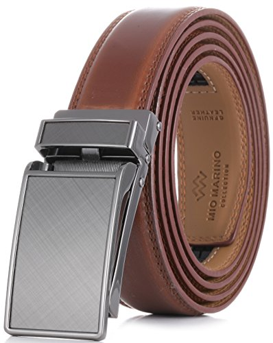 Marino Avenue Men's Genuine Leather Ratchet Dress Belt with Linxx Buckle - Gift Box (Charcoal Depiction - Burnt Umber, Adjustable from 28