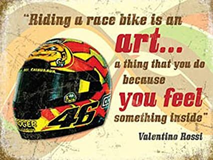Valentino Rossi casco, Moto Racing Quote, Carrera Bicicleta Metal/Acero Para La Pared