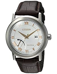 Citizen Men's 'Eco-Drive Dress' Quartz Stainless Steel and Leather Casual Watch, Color: Brown (Model: AW7020-00A)