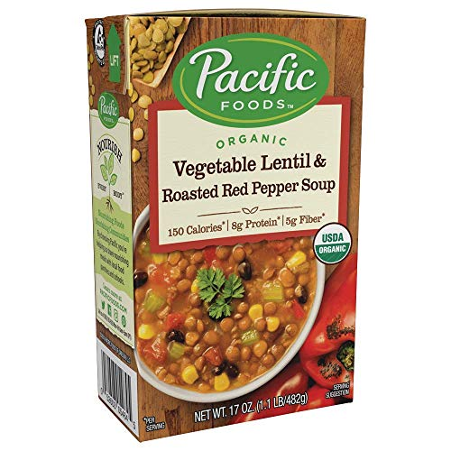 Pacific Foods Organic Vegetable Lentil & Roasted Red Pepper Soup, 17oz, 12-pack