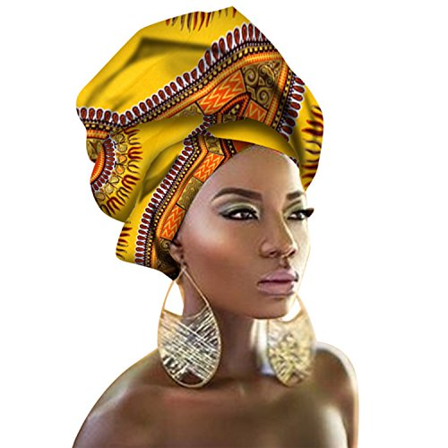 Chien Multi-Color Urban Ladies Hair Accessory Headband,Bazin Wax Print Wrap Tie Scarf, African Head Scarf Gele Ipele (Yellow and Orange)