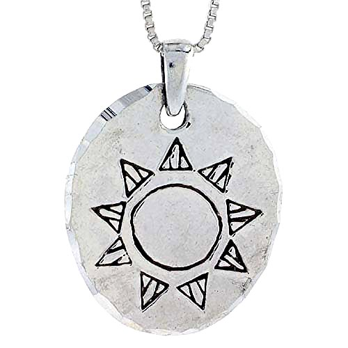 Sterling Silver Disk with Engraved Sun Pendant, 1 1/8 inch tall