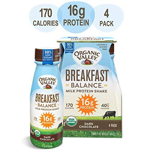 Organic Valley, Dark Chocolate Milk Protein Shake, Healthy Snacks, Breakfast Balance, 11oz (Pack of 4) (Best Tasting Breakfast Shake)