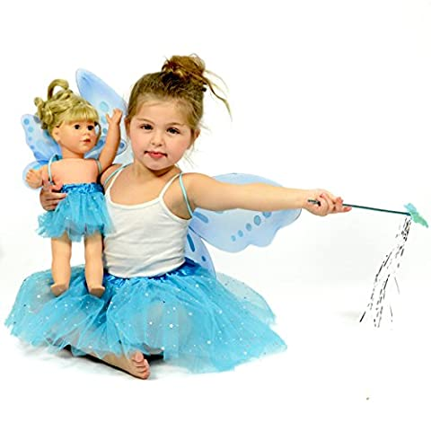 Turquoise Glitter Fairy Princess Dress Up - Pretend Play - Matching Dress for Girls and 18 Inch Dolls