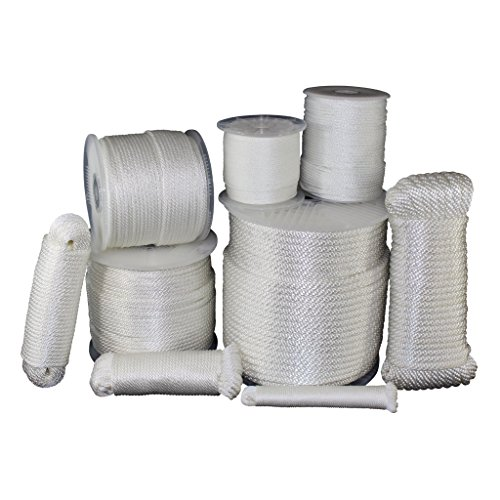 Solid Braid Nylon Rope (1/4 inch) - ReadyGear - White - UV, Rot, Oil, Gas, & Weather Resistant - Boating, Mooring, Anchor, Tow-Lines, Camping, Outdoors, Pulleys, Blocks, DIY Projects (100 feet hank)