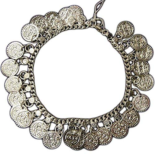 Coin Dance Belly Silver - Uma Indian Traditional Belly Dance Ghungroo Silver-Toned Coin Anklet