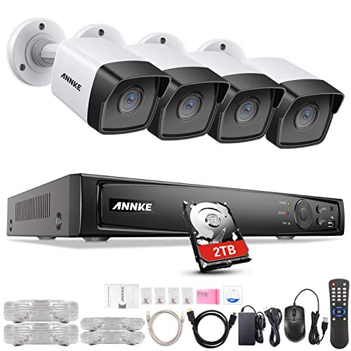 ANNKE 8CH 5MP Home Security Camera System, 4 x Wired 5MP Outdoor Night Vision PoE IP Cameras, H.265+ 8 Channel 4K PoE NVR Security System w/ 2TB HDD for 7/24 Recording, Support ONVIF Motion Detection