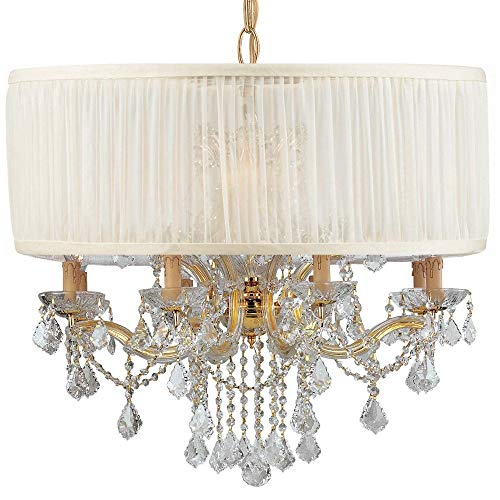Brentwood Collection Twelve Light - Crystorama 4489-GD-SAW-CLM Crystal Accents 12 Light Chandelier from Brentwood collection in Gold, Champ, Gld Leaffinish,