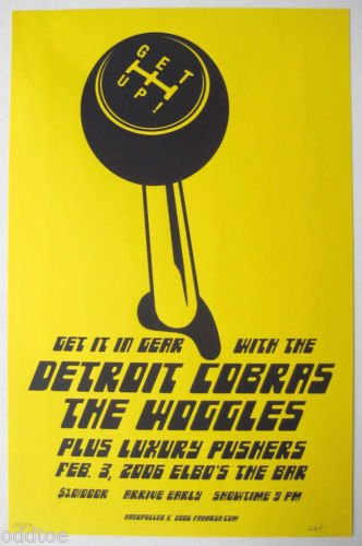 Detroit Cobras Poster w/ The Woggles & Luxury Pushers 2006 Concert