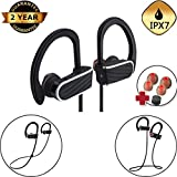 Wireless Sports Neckband Earphones Bluetooth Headphones with Mic IPX7 Water-Resistant Sweatproof Noise-Isolating Stereo Headset HD Sound Bass Noise Cancelling 8 hours working time for Sport & Exercise
