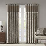 Cheap Taupe Curtains For Living Room, Traditional Back Tab Curtains For Bedroom, Andora Embroidered Back Tab Fabric Window Curtains, 50×108, 2-Panel Pack