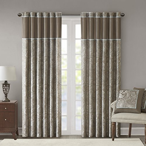 Taupe Curtains For Living Room, Traditional Back Tab Curtains For Bedroom, Andora Embroidered Back Tab Fabric Window Curtains, 50x108, 2-Panel (Pack Dining Room Set)