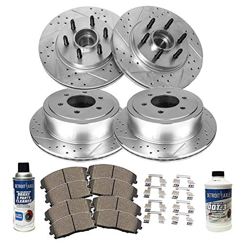 Detroit Axle - All (4) Front and Rear Drilled and Slotted Brake Rotors w/Ceramic Pads w/Hardware & Brake Cleaner & Fluid for 2004-2008 Ford F-150 - [2006-2008 Lincoln Mark LT] - 2WD Base PlayLoad