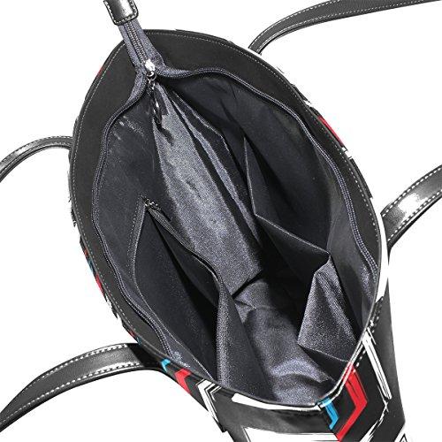 Coosun abstrakte bunte Luke Muster PU Leder Schultertasche Handtasche und Handtaschen Tasche für Frauen