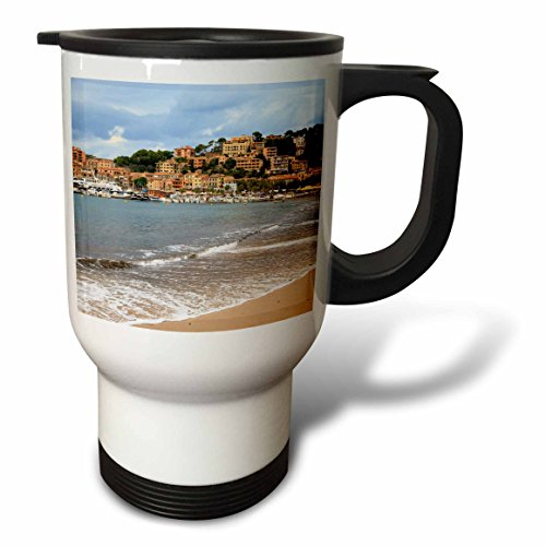 3dRose Danita Delimont - Cities - Spain, Balearic Islands, Mallorca, Port of Soller historic waterfront - 14oz Stainless Steel Travel Mug (tm_277908_1) by 3dRose