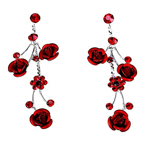 Faceted Metal Rose & Crystal Rhinestone Necklace & Earring set for Bridal, prom (Red) by Christina Collection (Image #1)