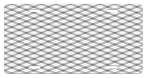 Ambesonne Plaid License Plate, Monochromatic Diagonal Pattern with Checks and Stripes Dashed Lines Celtic Classic, High Gloss Aluminum Novelty Plate, 5.88 L X 11.88 W Inches, Black White ()