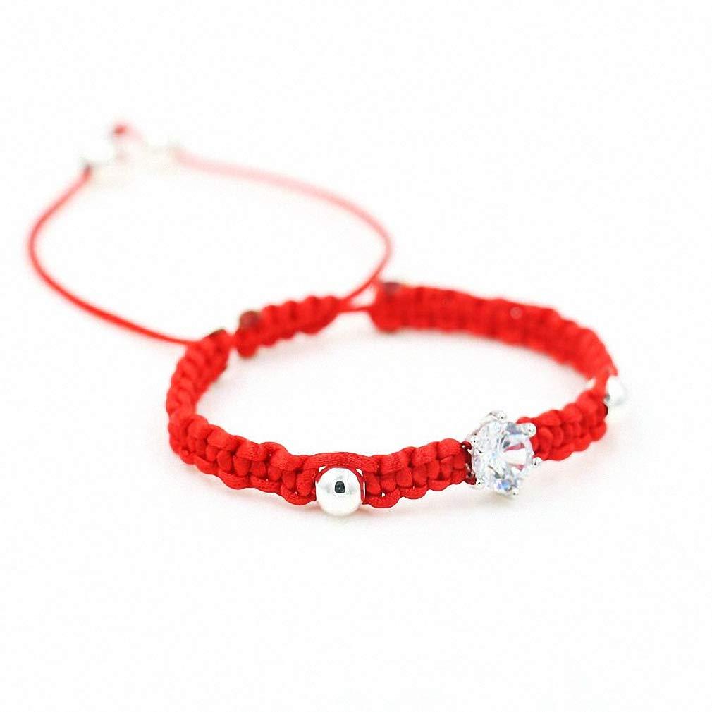 Hynsin Womens Mens Bracelet Red Rope Thread String Braided Bracelets Women Girls Silver Color Crystals AAA Zircon Lovers Chakra Bracelet