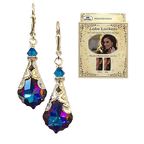 HisJewelsCreations Baroque Crystal Vintage Inspired Leverback Dangle Drop Earrings (Bermuda Blue with Lobe Locker)