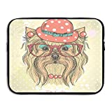 XINSHOU Be Cute Portrait Of An Adorable Dog With Earrings Necklace Glasses Hat Laptop Sleeve Case Bag Cover For 13-15 Inch Notebook Computer 15 Inch