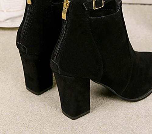 Buckle Heels Ankle Warm Women Black Boots Shoes Ladies Faux Belt Martin Lenfesh High Boots Zip nU5vx4n