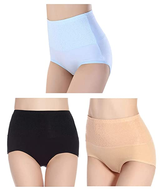 4698c49341 Femaroly Women Cotton High Waist Briefs Panty 3 Pack Funny Soft Underwear  Black-Apricot-