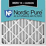Nordic Pure 20x20x4M14+C-2 MERV 14 Plus Carbon AC Furnace Air Filters, Qty-2
