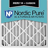 Nordic Pure 20x20x4 (3-5/8 Actual Depth) MERV 14 Plus Carbon AC Furnace Air Filters, Box of 1