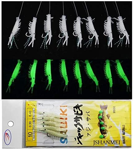 5x Sabiki Rigs Glow In The Dark Glowing Baits Fishing Lures 6-Hooks Catch