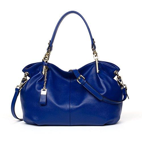 BOSTANTEN Leather Designer Handbags Satchel Tote Shoulder Cross Body Bags for Women Blue (Discount Designer Bags)