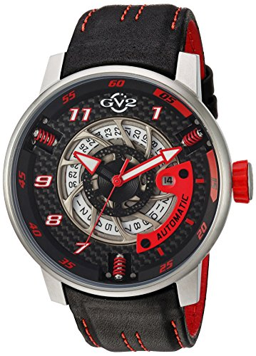 GV2-by-Gevril-Mens-Motorcycle-Sport-Automatic-Stainless-Steel-and-Leather-Casual-Watch-ColorBlack-Model-1300