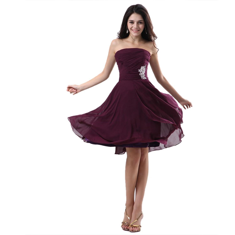 Dearta Women's A-Line Strapless Knee-Length Chiffon Evening Dresses