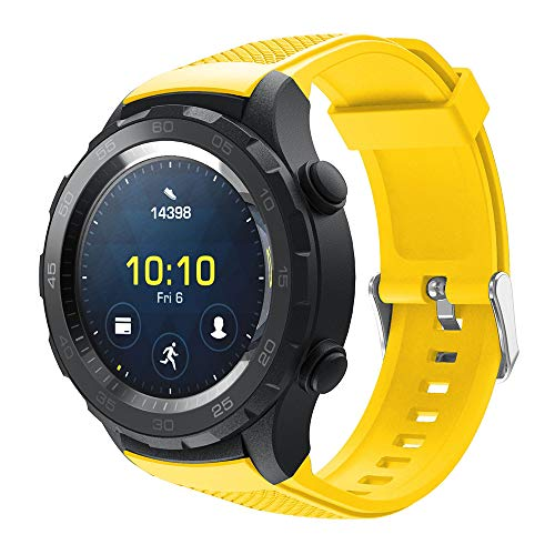 Chartsea Sport Soft Silicon Accessory Watch Band Wirstband for Huawei Watch 2 Accessories (yellow)