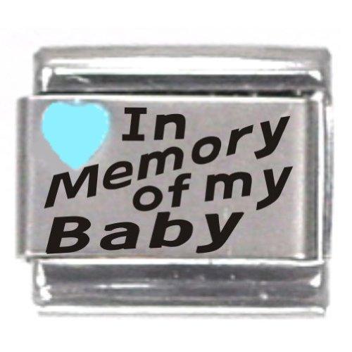 (In Memory Of My Baby Light Blue Heart Laser Italian Charm)