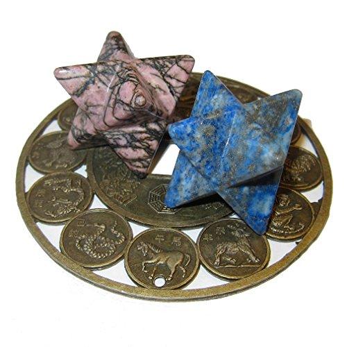 Satin Crystals Polygon Set Premium Blue Lapis Lazuli & Pink Rhodonite Merkaba Soul Mate Stars & Zodiac Signs Plate Matchmaker Stones P01