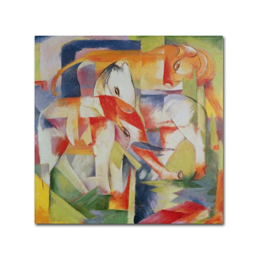 Elephant Horse and Cow 1914 Artwork by Franz Marc, 35 by 35-Inch Canvas Wall (Elephants Fine Art)