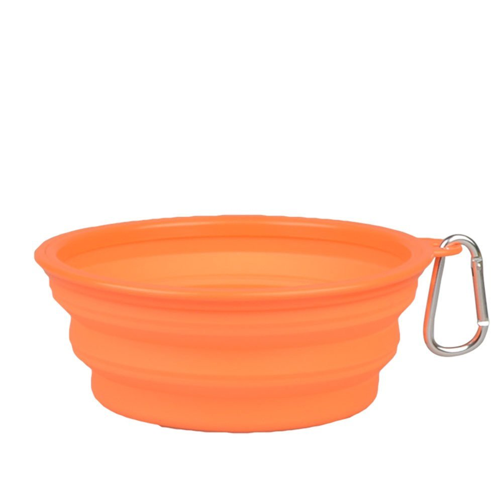 Forever-You Folding Silicone Bowl Dog Bowl pet Dog Basin Food Bowl cat Job, orange