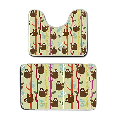 US TANG Memory Foam 2 piece bathroom rug set - Cute Sloth Cl