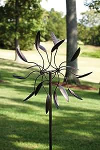 """18.25"""" Kinetic Distressed Design Twirling Pinwheel Flower Art Garden Stake"""