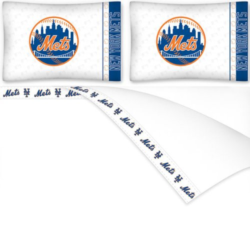 MLB New York Mets Micro Fiber Sheet Set, King, White - New York Mets Pillow